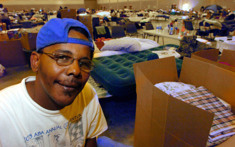 "Image"" Hurricane Katrina survivor at a shelter"