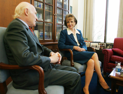 Supreme court nominee Harriet Miers meets Senator Herbert Kohl (D-WI) in his office in Washington
