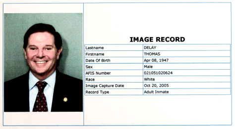 IMAGE: TOM DELAY'S BOOKING PHOTO