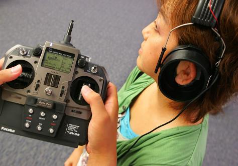 Reporter wears headset