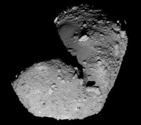 close-up view of asteroid's southern hemisphere.
