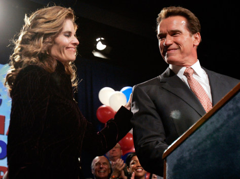 Image: California Governor Arnold Schwarzenegger and his wife, Maria Shriver