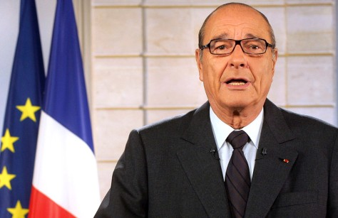 French President Chirac delivers a speech in Paris