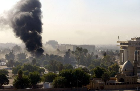 Image: Black smoke billows from the site of a suicide car bomb near the heavily fortified Green Zone in central Baghdad on Monday.