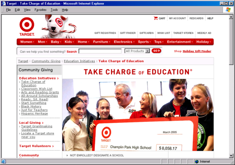 "Target's ""Take Charge of Education"" program"