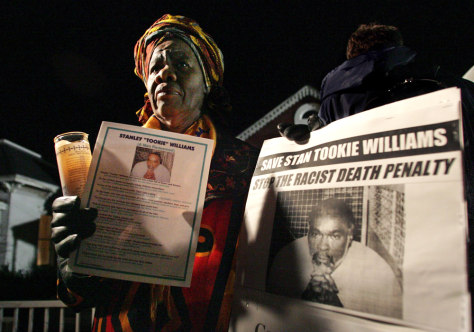 IMAGE: Supporter of Stanley Williams demonstrates at San Quentin Prison