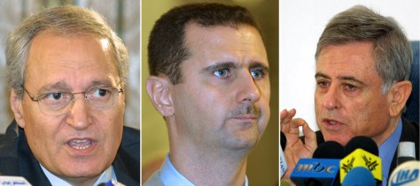 Images: Syrian Foreign Minister Faruq al-Shara, left, Syrian President Bashar al-Assad, center, and Syrian Vice President Abdel Halim Khaddam