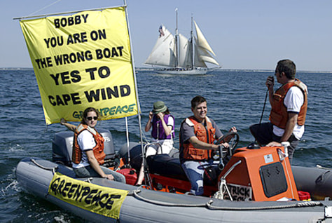 IMAGE: GREENPEACE PROTESTS FOR WIND FARM