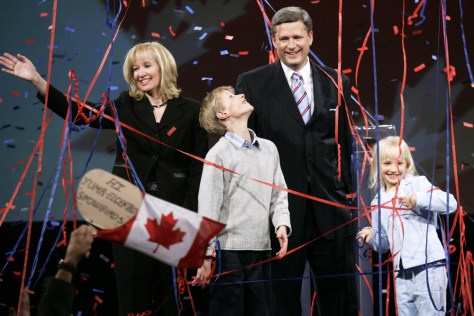 Image: Canada's Conservative Party leader Stephen Harper celebrates his election win with his family in Calgary on Monday night.