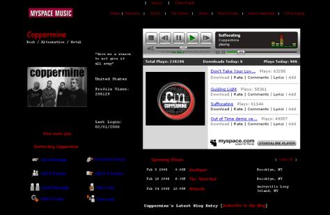 Image: MySpace music profile