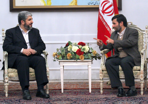 Meshaal meets with Iranian President Ahmadinejad in Tehran