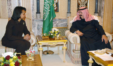 US Secretary of State Condoleezza Rice with Saudi King Abdullah bin Abdul Aziz