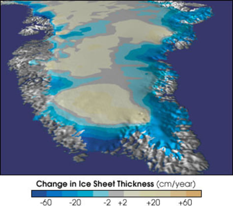 IMAGE: GREENLAND MAP SHOWING ICE CHANGES