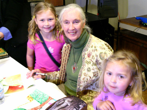 IMAGE: JANE GOODALL SIGNS BOOK FOR CHILDREN