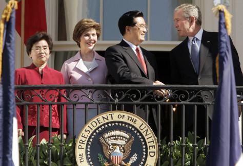 President Bush, Laura, Bush, Hu Jintao, Liu Yongqing
