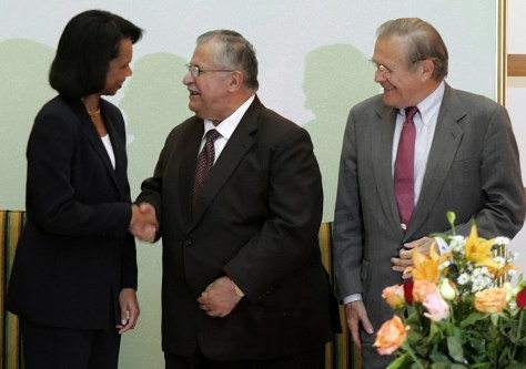 Image: Jalal Talabani, Donald Rumsfeld and Condoleezza Rice
