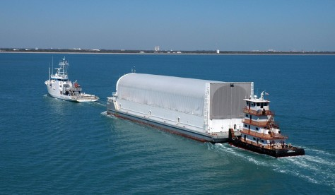 space shuttle fuel tank on barge