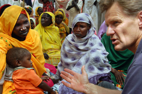 The U.N. under-secretary for humanitarian affairs Egeland is seen in the volatile Kalma camp in Sudan's South Darfur state
