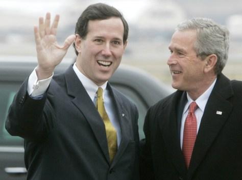 Image: Sen. Rick Santorum and President Bush