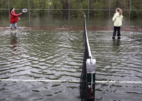 IMAGE: FLOODED TENNIS COURT