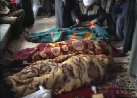 A video provided to Reuters by Hamourabi Human rights group shows covered bodies in Haditha