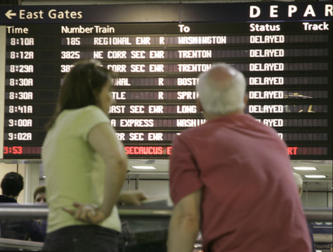 IMAGE: BOARD SHOWS DELAYED AMTRAK SERVICES
