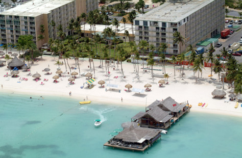 Image: Beach and hotel.