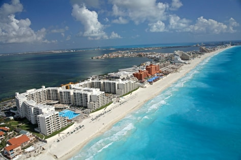 Image: Aerial view of Cancun beach and resorts.