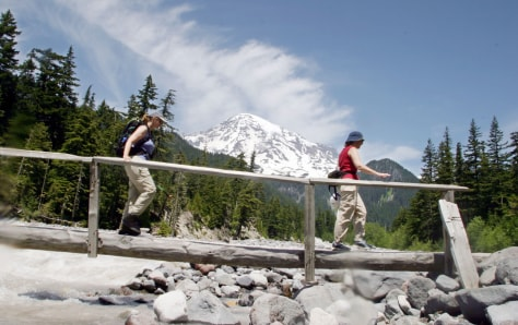Image: Hikers with Mount Rainier in background.