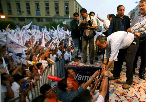 Calderon presidential candidate for PAN greets supporters at the last campaign rally in Guadalajara City