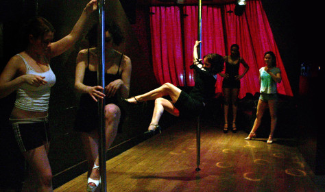 IMAGE: Pole dancing fitness class