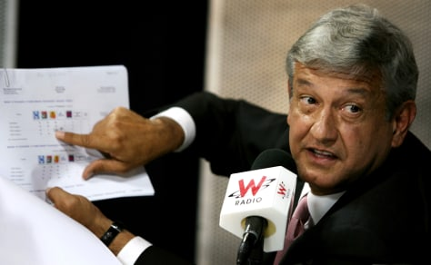 Obrador presidential candidate for PRD speaks during a TV and radio program in Mexico CIty