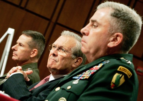 IMAGE: RUMSFELD, PACE AND ABIZAID AT SENATE