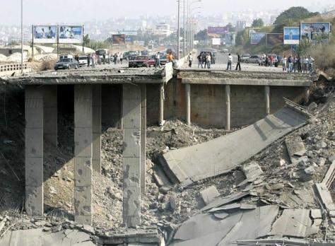 Image: Destroyed Lebanese bridge