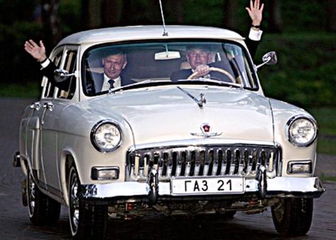 Bush andPutin drive