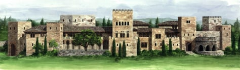 Image: Artist rendering of Moorish fortress modeled after the Alhambra in Granada Spain