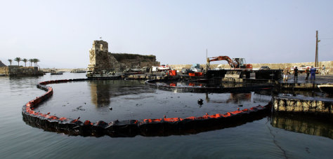 IMAGE: LEBANESE PORT WITH OIL CONTAINMENT NETS