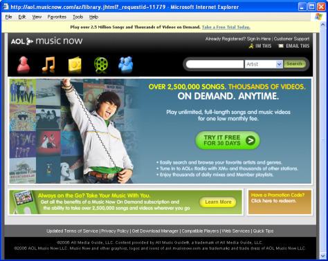 Image: AOL music service