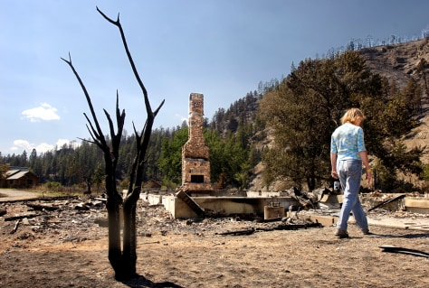 IMAGE: WOMAN SURVEYS DESTROYED HOME