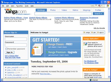 Xanga.com home page