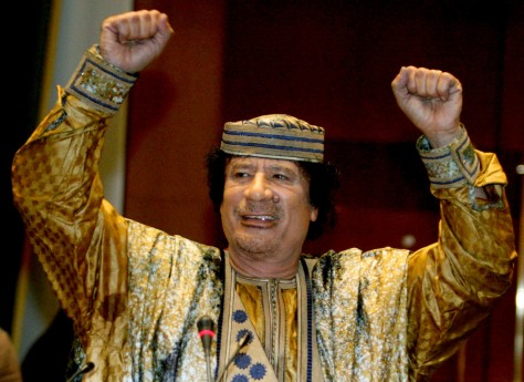 Image: Libyan leader Muammar Gaddafi