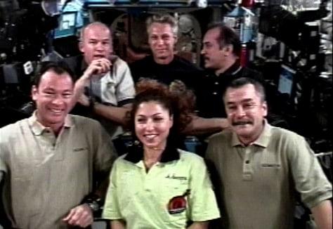 Image: Michael Lopez-Alegria, Anousheh Ansari, Mikhail tyurin, Jeffrey Williams, Thomas Reiter, Pavel Vinogradov