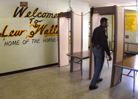 Metal detector at a school in Gary, Ind.