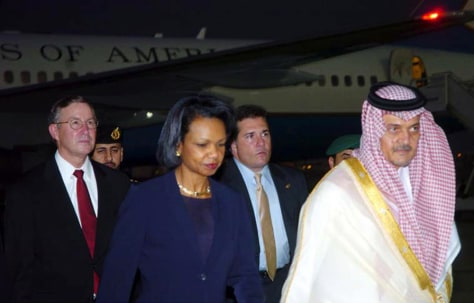 Image: Condoleezza Rice and Saud al-Faisal.