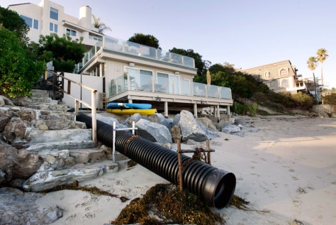 IMAGE: MALIBU BEACH WITH STORM DRAINAGE PIPE