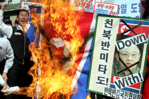 IMAGE: Anti-North Korea protest in Seoul
