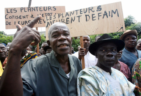 Cocoa farmers stage a protest in Abidjan