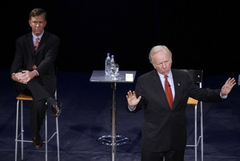 IMAGE: Lieberman and Lamont at debate
