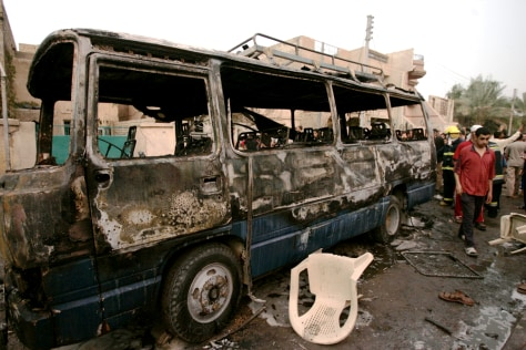 IMAGE: WEDDING BUS DESTROYED BY CAR BOMB