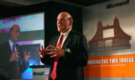 Microsoft CEO Ballmer speaks in New Delhi